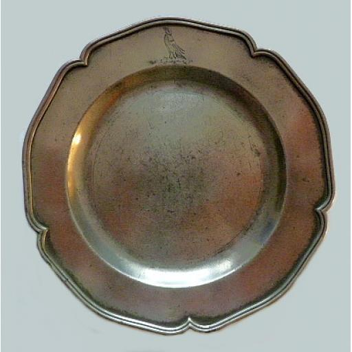 Pewter 5-lobed armorial dinner plate by Thomas Chamberlain of London c1732-50