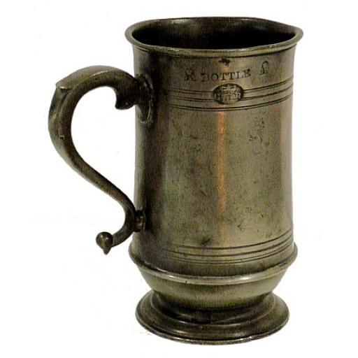 Rare bottle capacity pewter measure by James Moyes of Edinburgh c1870-78