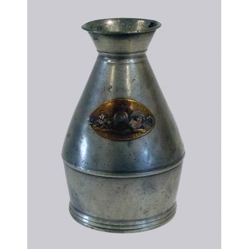 Very rare ½-pint Irish pewter haystack measure with brass plaque c1823-46
