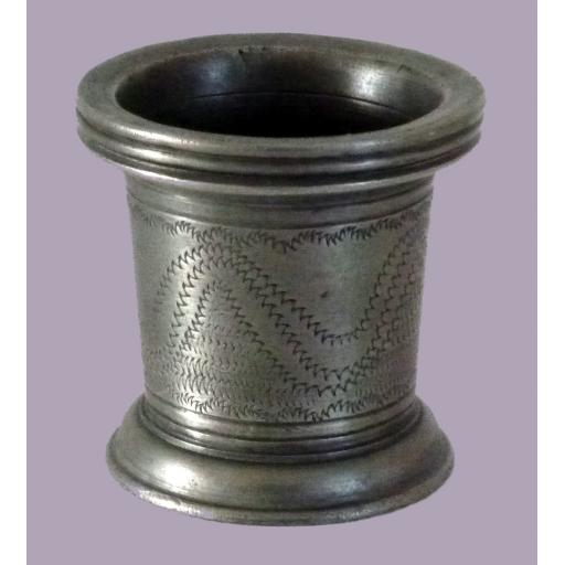 Very rare and small Stuart pewter wrigglework measure/vessel c1690-1710
