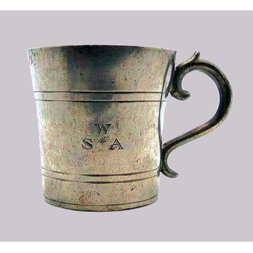 Very rare American pewter beaker cup possibly by Thomas Wildes 1829-40