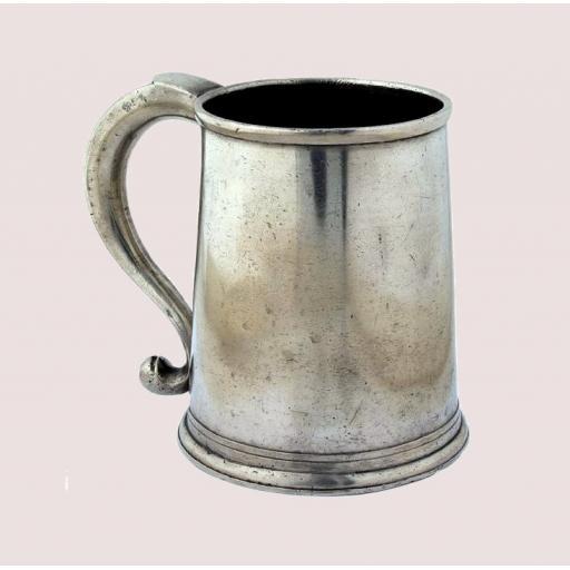 Rare American pewter quart mug by Parks Boyd, Philadelphia 1795-1819