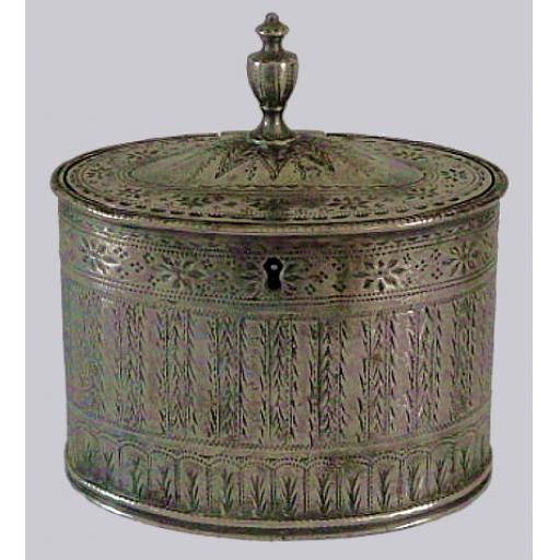 Rare bright cut pewter oval tobacco caddy with working lock by Richard Pitt, London 1747-96
