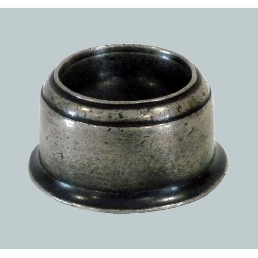 Low circular English pewter trencher salt ex Michaelis c1700-20