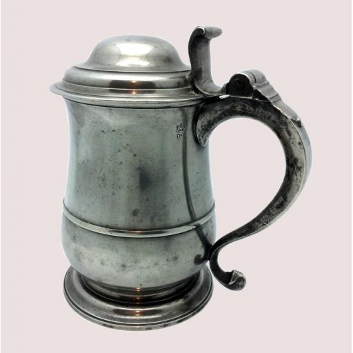 Quart dome lid pewter tulip tankard by William Charlesley, London 1729-70