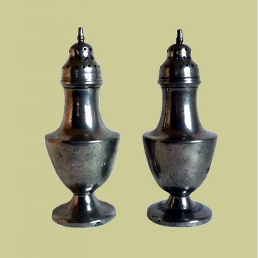 Pair of late 18th century English pewter urn based castors