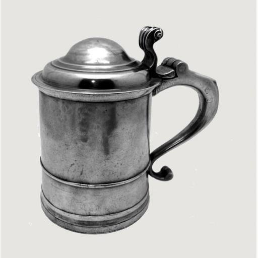 """Very rare pre-Revolutionary period New England pewter tankard by """"IC"""" c1740-70"""