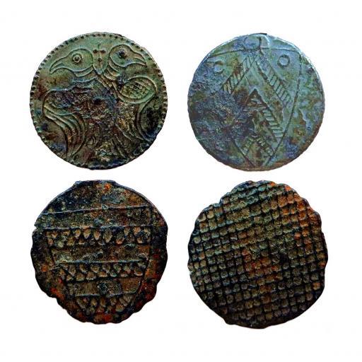 Two 13th century English base metal pilgrim tokens
