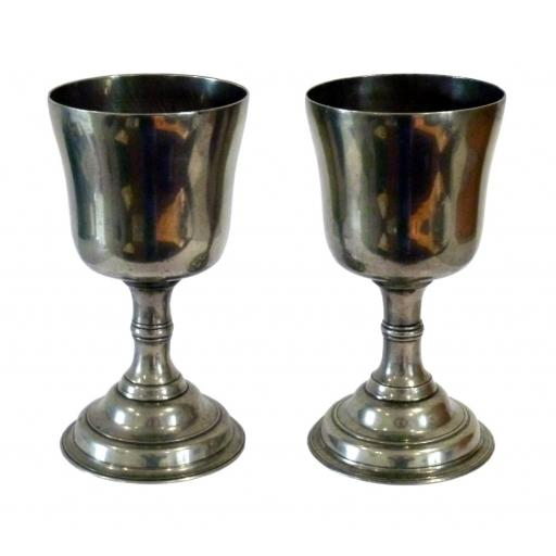 Pair of 18th century Scottish pewter chalices or communion cups
