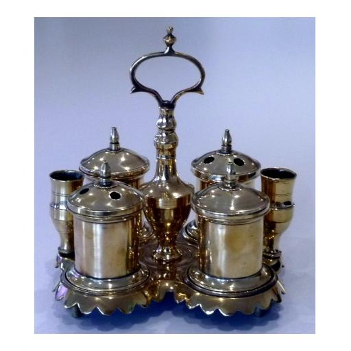 Very rare 18th century English brass desk stand with candleholders